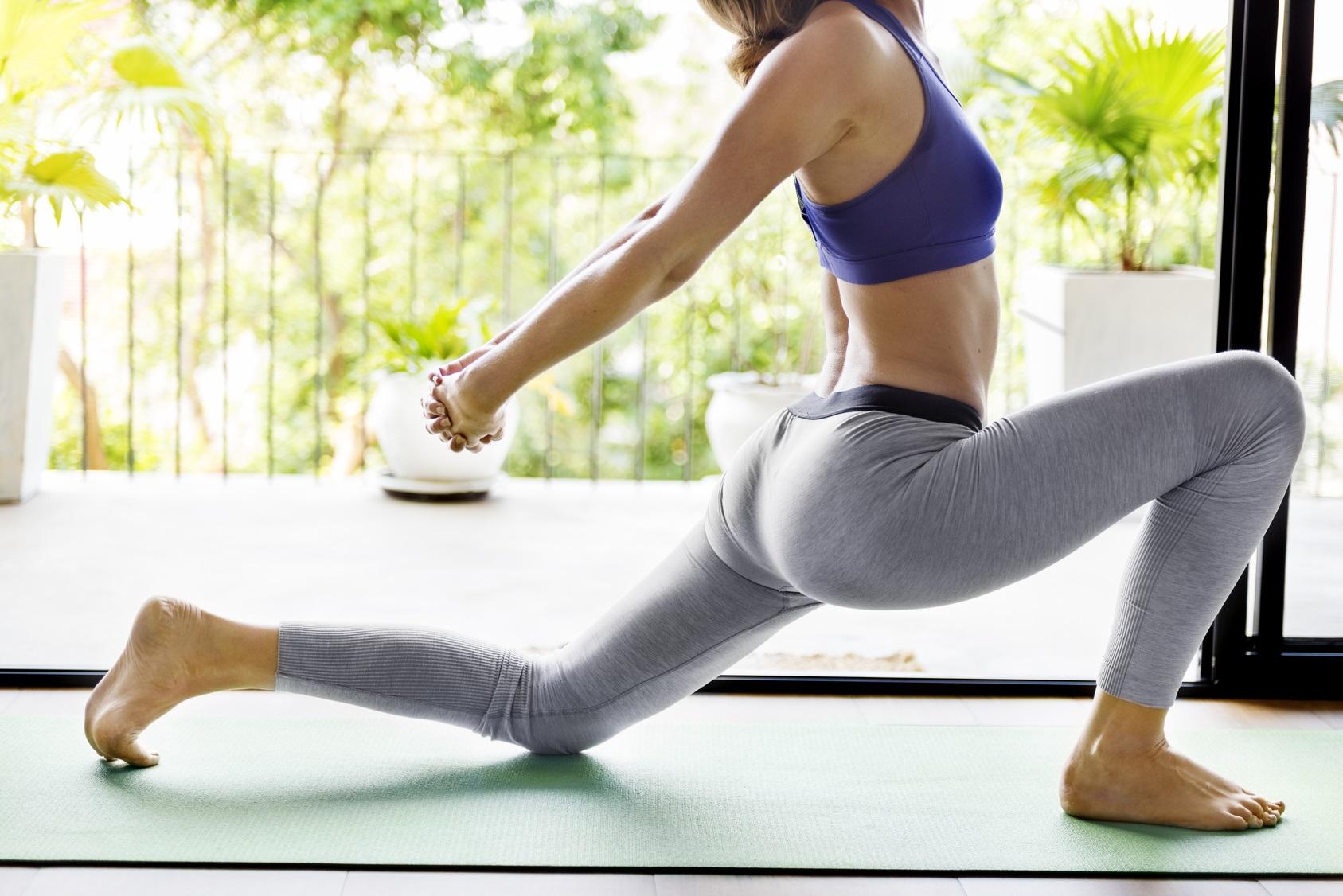 Woman Yoga Practice Pose Training Concept